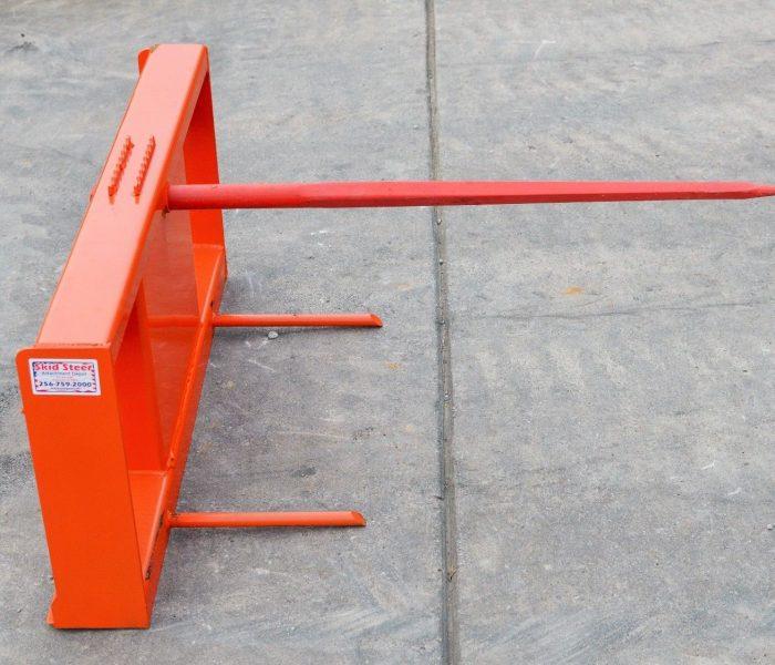 Orange Mounted Low Back Hay Spear - Kubota Skid Steer