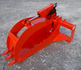 Extreme Duty Stump Bucket Grapple - Orange